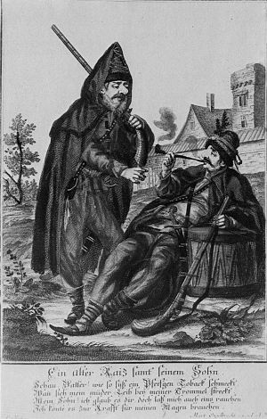 "Rascians - ""Old Rascian with son"", by Martin Engelbrecht (1684–1756)."