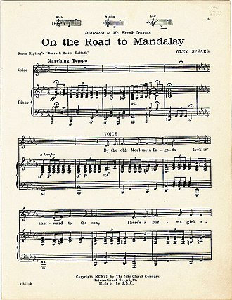"""On the Road to Mandalay (song) - First sheet of Oley Speaks's setting of """"On the Road to Mandalay"""", 1907"""