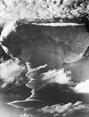 November 8, 1957:Grapple X Round C1, the first successful British hydrogen bomb test, detonates over Kiritimati's South East Point.