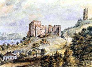 Napoleon Orda - Ruins of the castle in Kazimierz Dolny, watercolour, ca. 1870