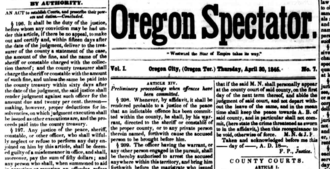 Oregon Spectator - The April 30, 1846 front page of The Oregon Spectator