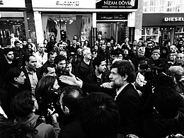 Osman Kavala at the Armenian Genocide centennial commemoration near Taksim Square, Istanbul (2015).jpg