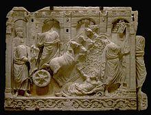 Elia sale al cielo lasciando il suo mantello al discepolo Eliseo, faccia laterale del sarcofago della traditio legis, Museo del Louvre