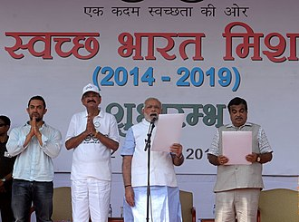 Open defecation - India's prime minister Modi launches Swachh Bharat Mission in 2014