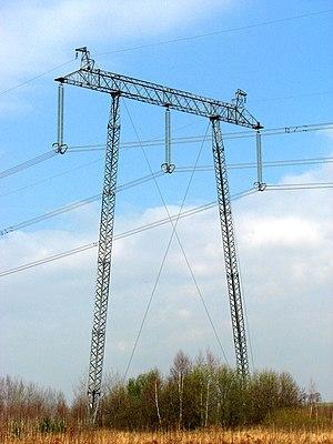 Rzeszów–Khmelnytskyi powerline - pole-through 750kV line from the Ukrainian nuclear power plant Khmelnitsky station 750/400 kV Widełka near Kolbuszowej. The photograph was taken near the intersection line with the national road DK19 in Nienadówce, at its border with Stobierna and Medynia Głogowska.