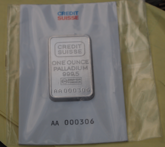 Palladium as an investment - An ounce bar of Palladium bullion