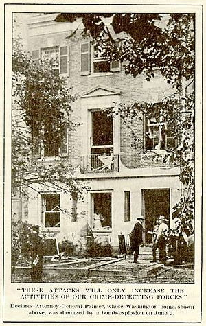 Red Scare - A bomb blast badly damaged the residence of Attorney General Mitchell Palmer in the spring of 1919.