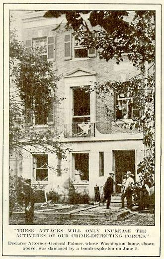 Espionage Act of 1917 - The house of Attorney General Palmer after being bombed by anarchists in 1919