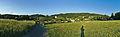 Panoramatický pohled na obec od západu z modré turistické trasy, Sloup, okres Blansko (02).jpg