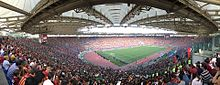 An internal panoramic view of the Stadio Olimpico, sold-out for the football match between Roma and Genoa, 28 May 2017.