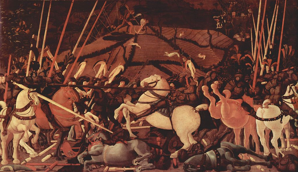 La défaite du camp siennois illustrée par la mise hors de combat de Bernardino della Ciarda, (~1456) détrempe sur bois de 3,23 m × 1,82 m (Galerie des Offices, Florence)