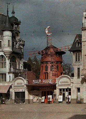 Moulin Rouge - The Moulin Rouge in Autochrome Lumière color, 1914, before the 1915 fire
