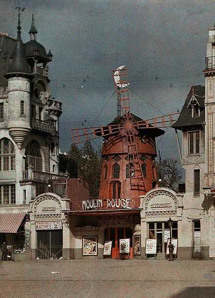 The Moulin Rouge in Autochrome Lumiere color, 1914, before the 1915 fire Paris 1914 Moulin Rouge.jpg