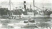 The ship Patria unloading immigrants at the beach in Tel Aviv