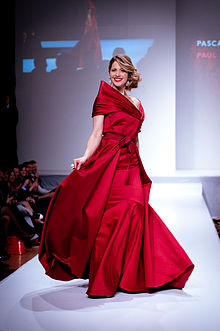 Pascale Hutton wearing Paul Hardy 2 - Heart and Stroke Foundation - The Heart Truth celebrity fashion show - Red Dress - Red Gown - Thursday February 8, 2012 - Creative Commons.jpg