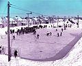 Patinoire sur la rue Moritz dans les annees 1930 a Arvida.jpg