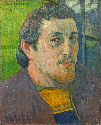 Self-Portrait with Halo and Snake - Self-Portrait Dedicated to Carrière (1888 or 1889)