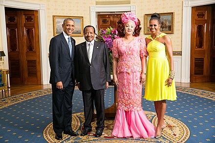 President Paul Biya with U.S. President Barack Obama in 2014 Paul Biya with Obamas 2014.jpg