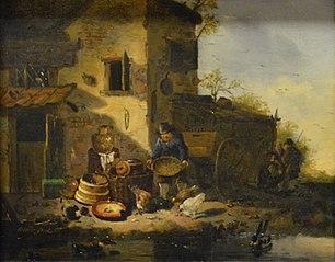 Paysan donnant à manger à des poules