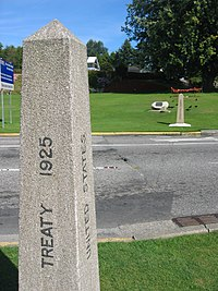 The boundary marker at the 49th parallel, dividing Blaine, Washington and Surrey, British Columbia.