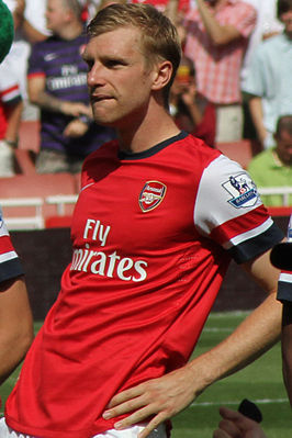 Per Mertesacker Arsenal vs Sunderland, 18 August 2012, Pre match 7 (cropped).jpg