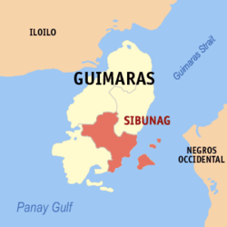 Map of Guimaras with Sibunag highlighted