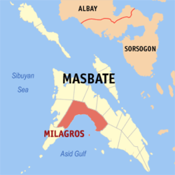 Map of Masbate with Milagros highlighted