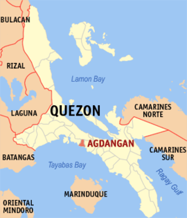 Map of Quezon showing the location of Agdangan