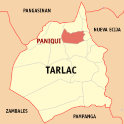 Map of Tarlac showing the location of Paniqui