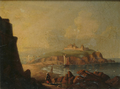 Philip John Ouless - Sailing ship at St. Malo, with figure in foreground.png