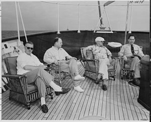 Afterdeck - Image: Photograph of President Truman and members of his staff relaxing on the after deck of his yacht, the U.S.S.... NARA 199029