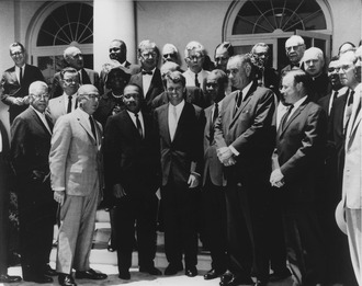 Vice President Lyndon B. Johnson and Attorney General Robert F. Kennedy with King, Benjamin Mays, and other civil rights leaders, June 22, 1963 Photograph of White House Meeting with Civil Rights Leaders. June 22, 1963 - NARA - 194190 (no border).tif