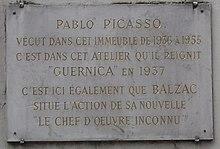 plakette in de 7 rue des grands augustins paris - Pablo Picasso Lebenslauf