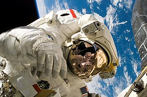 Outline of space science - Astronaut Piers Sellers during the third spacewalk of STS-121, a demonstration of orbiter heat shield repair techniques