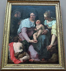 Madonna and Child adored by Sts. John the Baptist, Francis of Assisi and Catherine of Alexandria