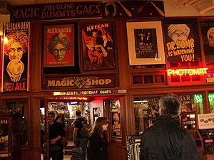 "Magic store - A magic shop in Seattle, displaying posters of famous magicians and also advertising ""gags"""