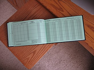 Logbook - Typical page layout in aircraft pilot's logbook.