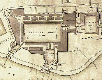 English: A plan of London Docks by Henry Palme...