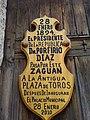 Plaque in door of Miguel Angel Marquez house.jpg