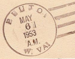 Postmark from Pluto, West Virginia