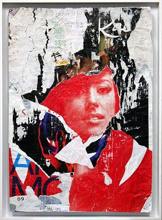 Pola Brändle - Collage/decollage in shadow gap frame, 2015, 90 x 66 cm