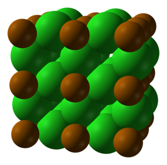 Polonium dichloride - Space-filling model of 2x2x2 unit cells (8 cells in total)