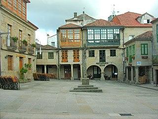 Plaza de la Leña Picturesque medieval square in Pontevedra, Spain
