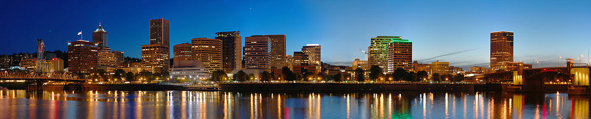 Panorama of downtown Portland at night. Viewed from across the Willamette River in SE Portland.