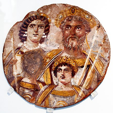 The Severan Tondo shows Septimius Severus, his wife Julia Domna, their younger son Caracalla (lower right of picture) and the obliterated image of his murdered co-heir, Geta. Staatliche Museen zu Berlin. Portrait of family of Septimius Severus - Altes Museum - Berlin - Germany 2017.jpg