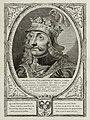 Portret van Willem II, graaf van Holland en rooms-koning. Hij draagt een harnas en een mantel en heeft op het hoofd een helm met een kroon. De omlijsting is versierd met het wapen van Hollan, NL-HlmNHA 1477 53012911.JPG