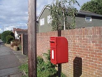 Post box - A British Lamp Box post box of the 1940 pattern at Denvilles, Havant, Hampshire.