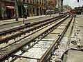 Praha, Smíchov, Anděl, rekonstrukce trati v Nádražní ulici, položené kolejnice II.JPG