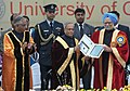 Pranab Mukherjee with the Prime Minister, Dr. Manmohan Singh releasing the commemorative postage stamp, at the inauguration of the 100th Session of Indian Science Congress, in Kolkata. The Governor of West Bengal.jpg