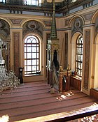The prayer hall, or musalla, in a Turkish mosque, with a minbar